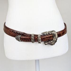Alexander's Alligator Belt and Silver Horse Buckle